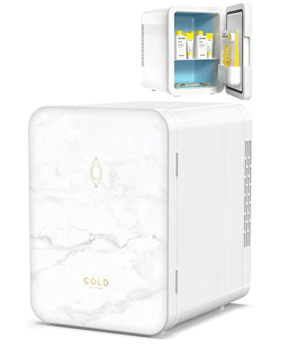 COLD Skincare Fridge (8.8 x 7 x 9.6 Inches) - 4 Litre Beauty Fridge in Marble Design for Cosmetics and Skincare - Keep Beauty Products Stored, Organized and Cool - Mini Fridge for Skin Care from COLD Skincare