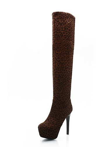 XZZ  Damenschuhe - Stiefel - Büro   Kleid   Lässig - Kunstleder - Stöckelabsatz - Plateau   Modische Stiefel - Braun   Gelb   Weiß B01L1GOD7M Sport- & Outdoorschuhe Die Farbe ist sehr auffällig
