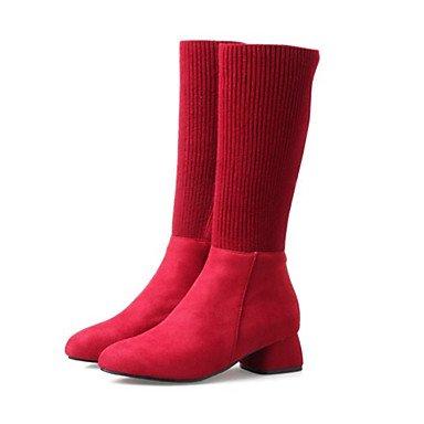 EU38 Calf Novedad botas botas amp;Amp; Mid puntera moda Lycra Confort UK5 CN38 talón mujer Suede 5 5 Invierno botas redonda RTRY Otoño parte Chunky Zapatos de para US7 TwxP1SC