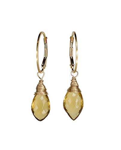Citrine Gemstone Drop Earring Gold Genuine Citrine Teardrop Dangle -1.4