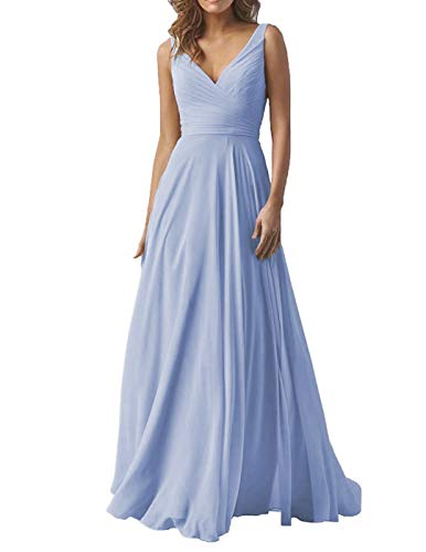 Women's Periwinkle Double V Neck Wedding Bridesmaid Dresses Long A-Line Chiffon Formal Evening Dress]()