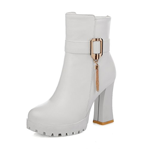 Leather Chain Buckle Metal Platform Womens 1TO9 Imitated Chunky Heels White Boots wqp7xO8IP