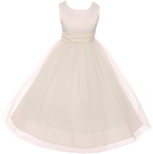 Big Girl Sleeveless Customizable Sash Big Bow Wedding Flower Girl Dress USA Ivory 8 KD 411 IV