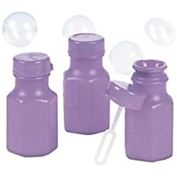 48 x Mini Lilac Hexagon Bubble Bottles