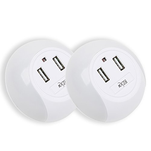 KMC-LED Light-Controlled Night Light with Light Sensor,wall outlet power splitter with 2 USB Wall Plate Charger 5V 2.1A,Bedroom Hallway Bathroom Living Room (Night Light with 2 USB-(2 Pack))