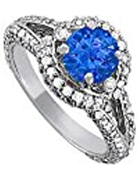 Awesome Sapphire and CZ Split Shank Ring 2.00 TGW
