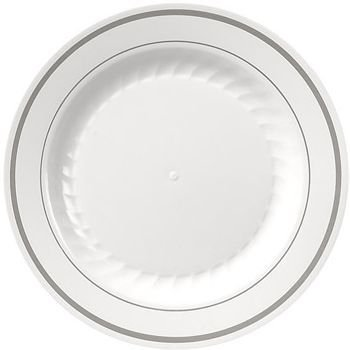 Masterpiece Plastic 7.5-inch Plates, White w/Silver Rim 15 Per Pack by Masterpiece