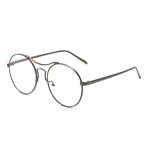 ronde bleu clair Dark simples de lunettes pleines Gray Bordures métalliques à Delaying conception anti Lunettes monture TXxtUYUg