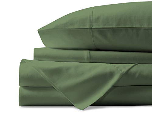 True Luxury 1000-Thread-Count 100% Egyptian Cotton Bed Sheets, 4-Pc Queen SAGE Sheet Set, Single Ply Long-Staple Yarns, Sateen Weave, Fits Mattress Upto 18 Deep Pocket