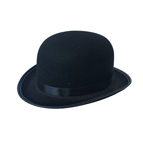 luyaoyao Adults Unisex Black Derby Bowler Felt Hat (Hat Bowler Black Felt)