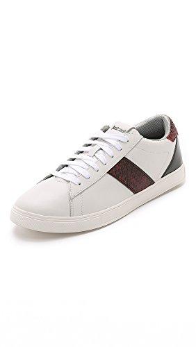 Just Cavalli Men's Natural Grain Leather Sneakers, White, 45 EU (13 D(M) US Men)