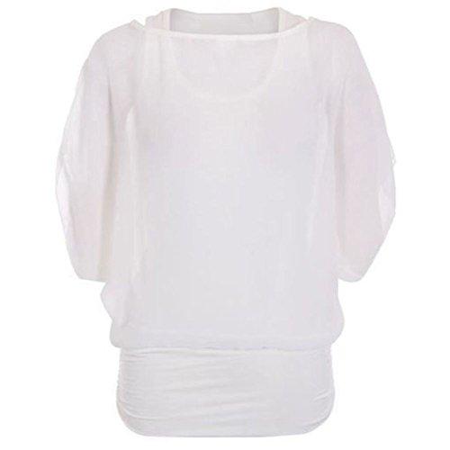janisramone mujeres encima batwing tamaño 2 en 1 blusa de Gasa Crema