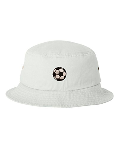 One Size White Adult Soccer Ball Embroidered Bucket Cap Dad Hat