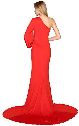 One Mermaid Shoulder Sleeve MACloth Prom Evening Gown Long Formal Jersey Minze Dress 74Id4q
