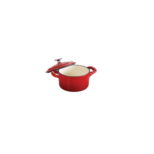Tramontina Enameled Cast Iron Covered Mini Cocotte, 10.5-Ounce, Gradated Red