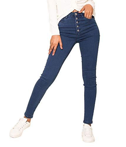 Jeans Blu Alta 2 Egomaxx Skinny Vita D2608 Stretch Pantaloni Donna dpTF8aU