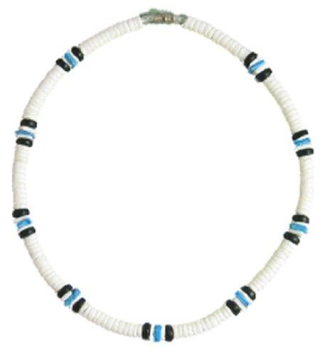 "Native Treasure - White Puka Shell Necklace Blue Chip 2 Black Coco Surfer Beach Choker - 18"" Inch"