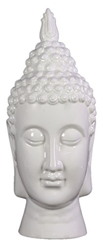 Benzara Compulsive & Spiritual Ceramic Buddha Head, White