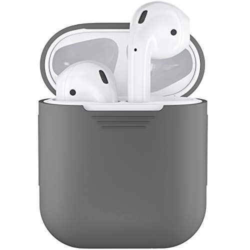 PodSkinz AirPods Case Protective Silicone Cover and Skin Compatible with Apple Airpods 1 & AirPods 2 [Front LED Not Visible] (Grey)