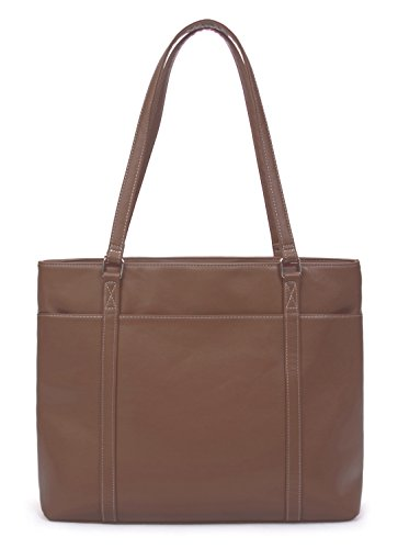 Overbrooke Classic Laptop Tote Bag - Vegan Leather Womens Shoulder Bag for Laptops up to 15.6 Inches (Brown)
