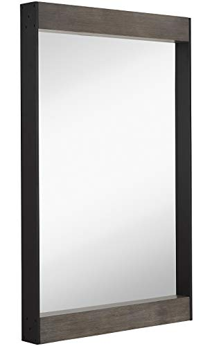 Hamilton Hills Contemporary Black Metal Mirror with Natural Gray Wood Side Accents -