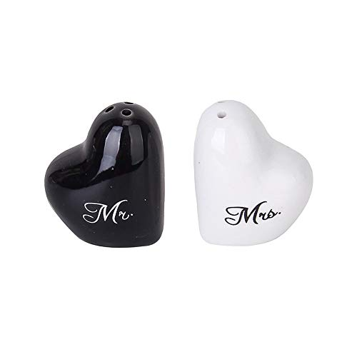 2pcs Chic Heart Shaped Pepper Pots Ceramic Mr. and Mrs. Salt Canister for Wedding Party Favors Black and White Household products Kitchen tools and accessories