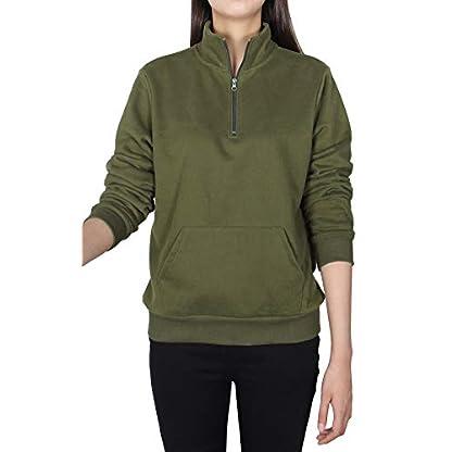 Smile Fish Women Teddy Fleece Quarter-Zip Sweatshirts Long Sleeve Lightweight Pullover Top 2