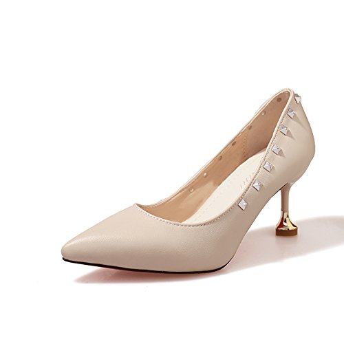 e5dab071bf1be4 Xue Qiqi Court Schuhe Tipp Stiletto Heels Nieten Pumps mit Eleganten  Herzschuhen37