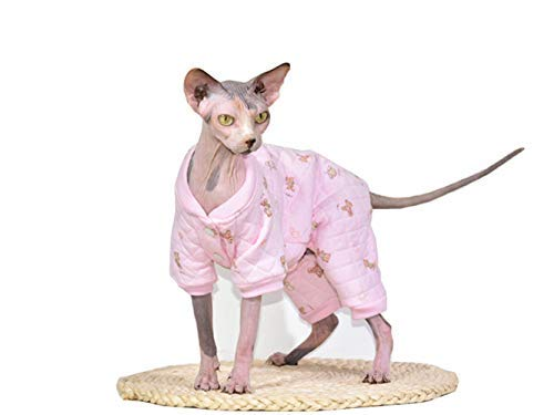 Khemn Designer Cat Warm Clothes Cat Sweater Jumpsuit Cat Pajamas with Thick Fleece-Best for Hairless Cat, 5 Colors (Pink, M) ()
