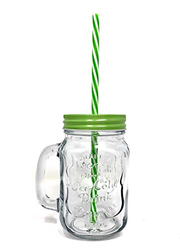 TheBarsentials Mason Jar Mugs with Handles with Stainless Steel Lids and Reusable Straws, Set of 4 x 16oz Clear Glass Pint, Old Fashioned Drinking Cup in Rustic Wooden Tray by TheBarsentials (Image #6)