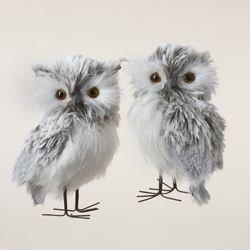 Kurt Adler 5-Inch Furry Gray Owl Set of 2