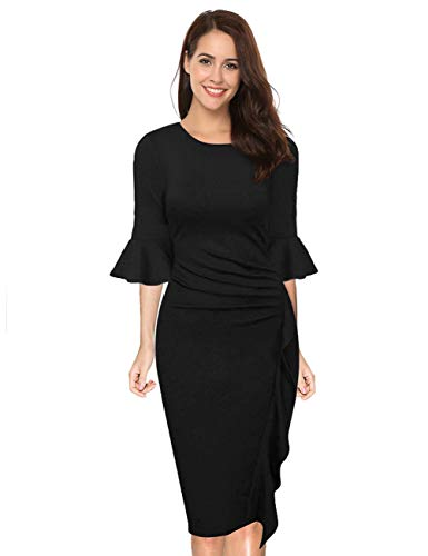 HiQueen Womens Elegant Bell Sleeve Wear to Work Party Cocktail Sheath Dress (XXL, Black-3) ()