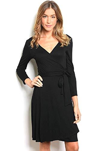 Women's Long Sleeve V-Neck Jersey Wrap Dress (Medium, Black) Black Jersey Wrap Dress
