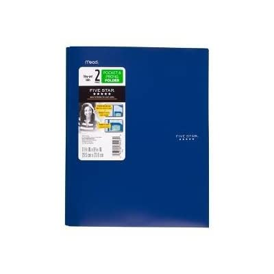 five star plastic folder with prongs 2 pockets blue 7urzx1203281