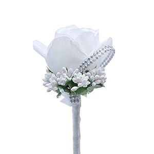 Smartrich 1 pcs Artificial Flower Crystal Brooch,Men/Women Wedding Party Decoration 9