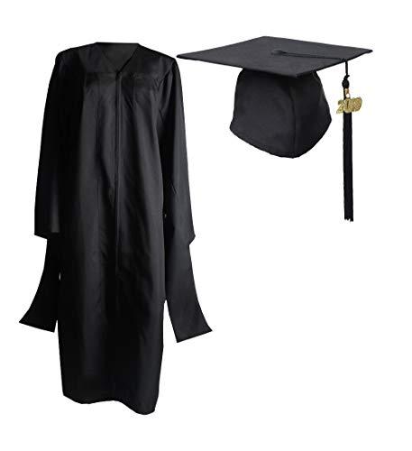 Happy Secret Masters Graduation Deluxe Black Cap and Gown Tassel ()