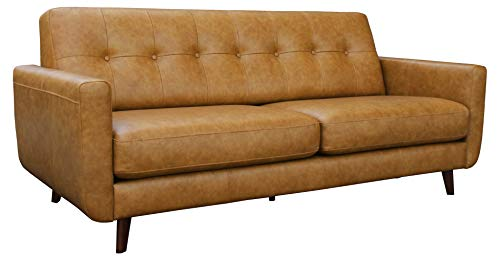 Rivet Sloane Modern Leather Sofa with Tufted Back