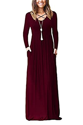 LILBETTER Women's Long Sleeve Loose Plain Maxi Dresses Casual Long Dresses with Pockets
