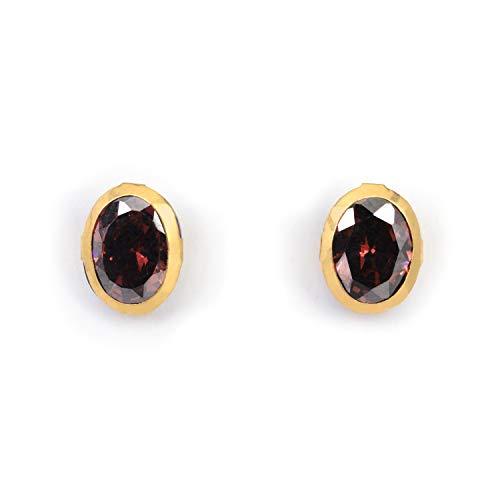 Ashok Jewellers 18K Yellow Gold Stud Earrings Eartops for Women | Oval Shape | Black Crystal | 8mm size | BIS Hallmarked (B07YC1FK3L) Amazon Price History, Amazon Price Tracker
