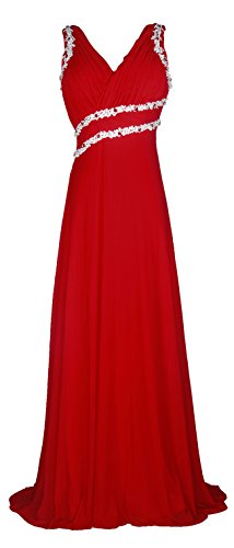 Licoco Women Beading Straps Ruched Long Formal Prom Gowns Bridesmaid Dress (71red,XLarge) (Slim Gown Prom)