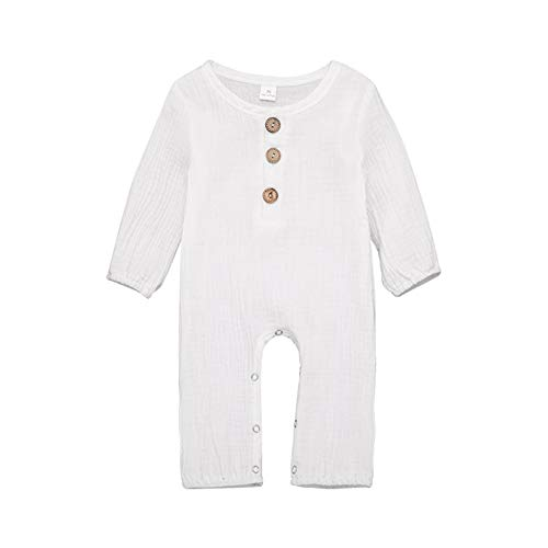 Baby Boy Girl Romper Jumpsuit Infant Newborn Cotton Long Sleeve One Piece Coverall with Button (6-12 Months, - White Long One Piece Sleeve