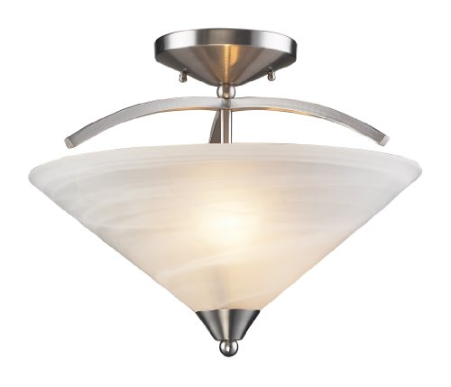 - Elk 7633/2 2-Light Semi Flush in Satin Nickel and Marbleized White Glass