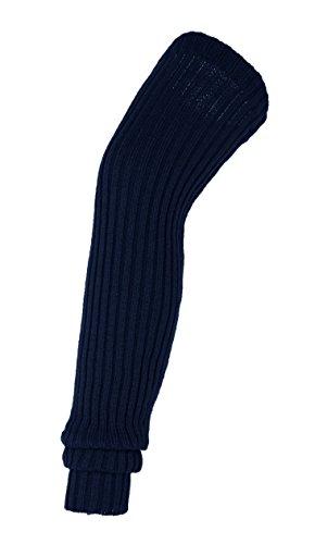 (Urban CoCo Women's Winter Knee High Footless Socks Knit Crochet Leg Warmer (Navy))
