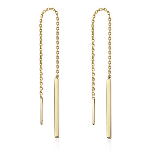 S.Leaf Minimalist Threader Earrings Bar Dangle Earrings Sterling Silver (yellow gold)