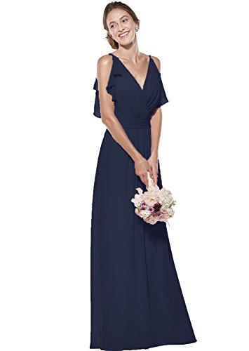 - Zhongde Spaghetti Straps Chiffon Long Bridesmaid Dress for Women Double V Neck Evening Party Dress Navy Blue Size 10