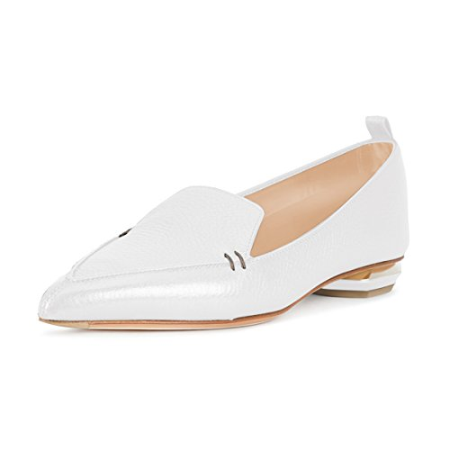 FSJ Women Fashion Pointed Toe Pumps Low Heels Casual Loafers Slip On Summer Shoes Size 4-15 US White-matte