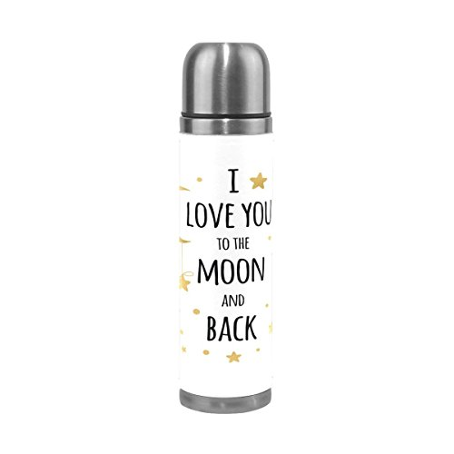 GoldenDesign I Love You to the Moon and Back Stainless Steel Water Bottle 17 Oz Double Wall Vacuum Insulated Thermos Flask Genuine Leather Wrapped Cover Keep Drinks Hot and Cold (Gsi Leather Flask)