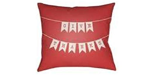 """The Holiday Aisle Give Thanks Indoor/Outdoor Throw Pillow in Red/White -(18"""" H x 18"""" W x 4"""" D) Insert/Cushion Pad Included, 100% Polyester, Weather Resistant from The Holiday Aisle"""