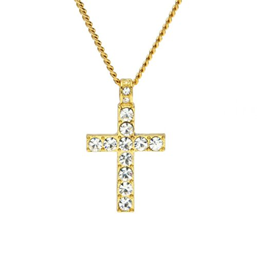 Botrong® Hip Hop Men Women Jewelry Bling Rhinestone Crystal Cross Pendant Necklace (Gold)