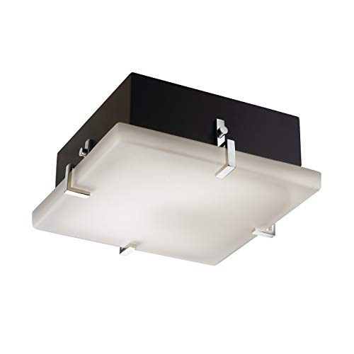 Justice Design Group Fusion 2-Light Fluorescent Flush-Mount - Polished Chrome Finish with Opal Artisan Glass Shade